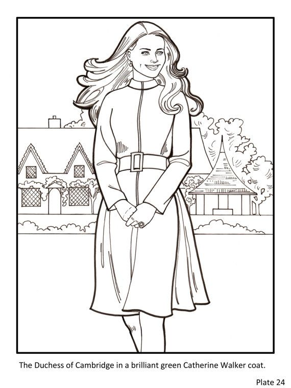 Kate The Duchess Of Cambridge Royal Fashions Coloring Book Etsy Fashion Coloring Book Coloring Books Color