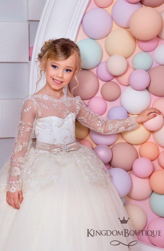 Capuccino marfil flor vestido de niña - boda fiesta fiesta de Dama ...
