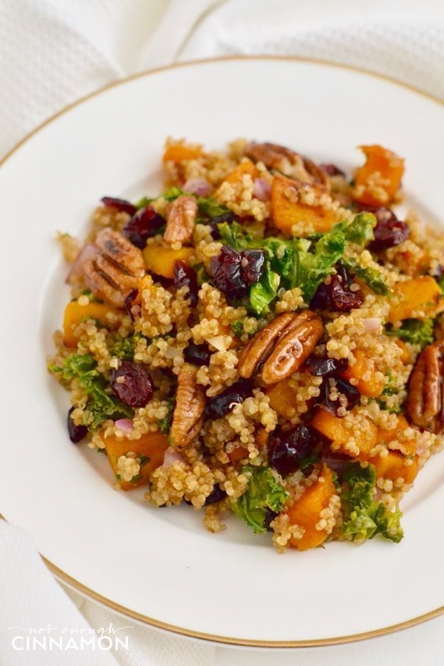 Warm Quinoa Butternut Squash And Kale Salad With Easy Maple Candied Pecans