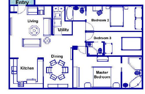 This floor plan has 1 bedroom a 3 piece bathroom an open bedroom