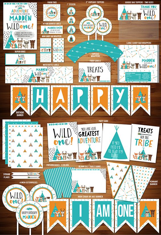 2cbdc1cc7 Printable Wild One Tribal Woodland Birthday Party Package | DIY Party Decor  | Boys Modern 1st Birthday Invitation | Tee Pee | Bear Fox | Deer | Raccoon  ...