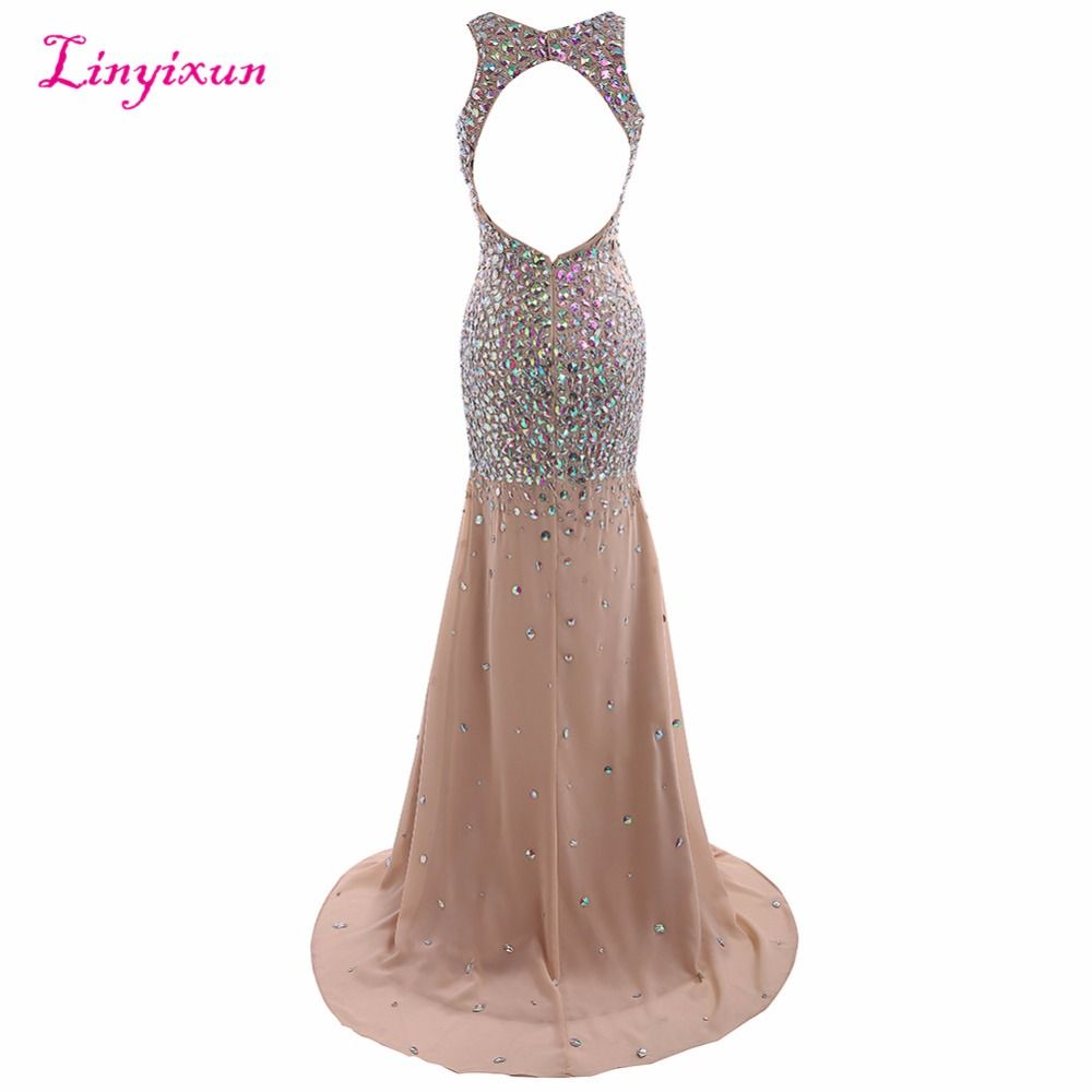 Linyixun real photo new sexy prom dresses luxury beaded crystal long