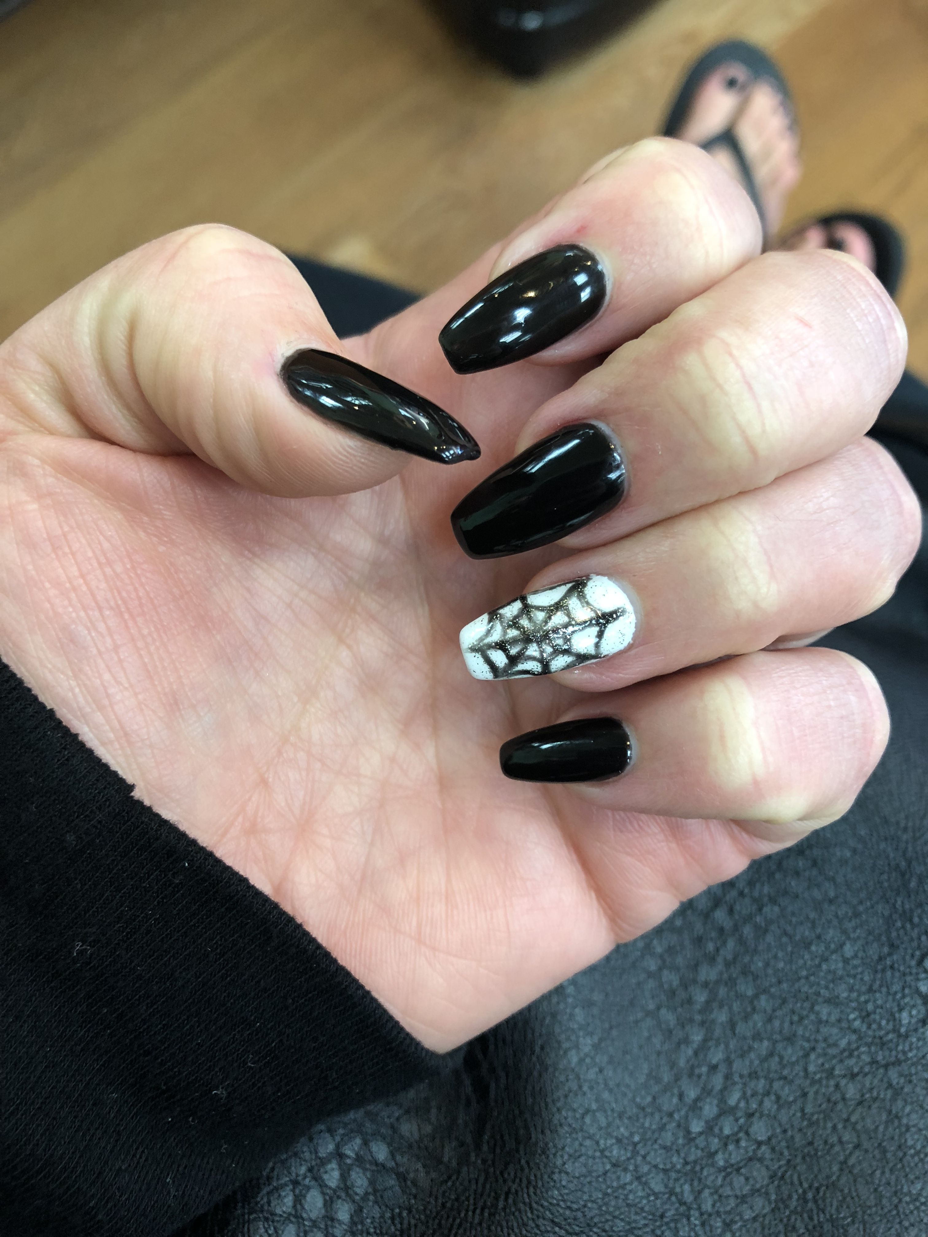 Spooky Halloween Nails Black Coffin Nails Spider Webs Black Coffin Nails Halloween Nails Nails