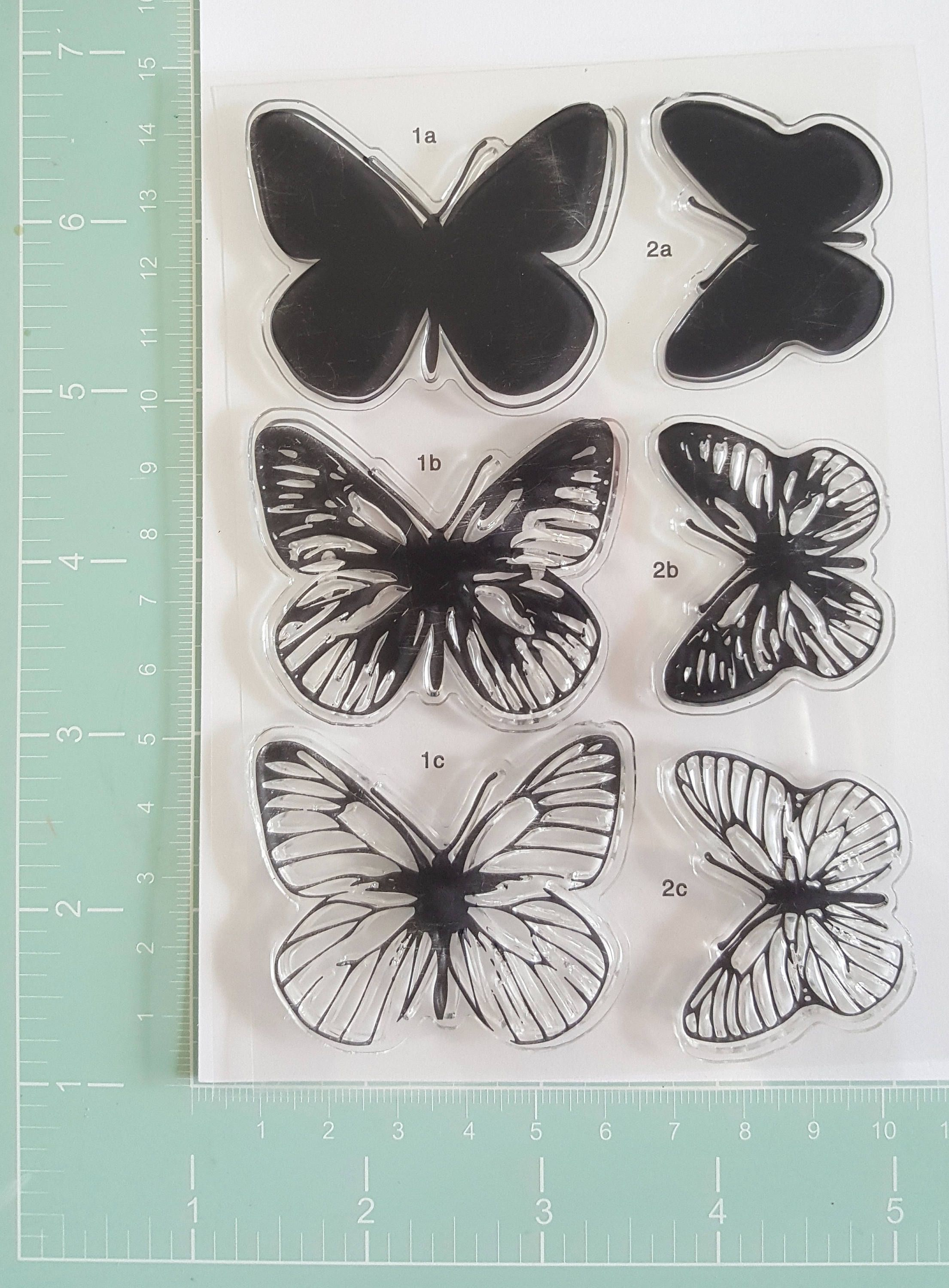 Color Layering Dimensional Stamp Butterfly 3D Clear Acrylic