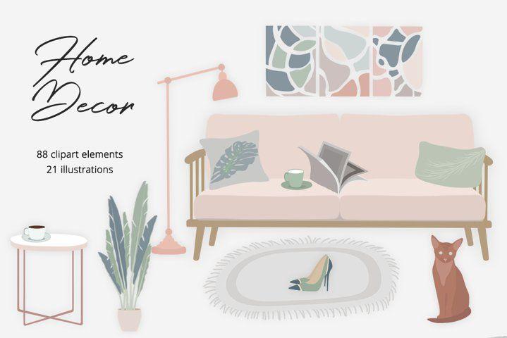 Home Decor Illustration Set #ladypreneur #ladyboss #homedecorscandinavian #interiordesign #office #shoes #interiordetails #interiorcreator #sofa #armchair