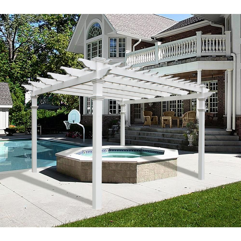 New England Arbors Regency 12 Ft X 12 Ft White Vinyl Pergola Va42055 The Home Depot Vinyl Pergola Outdoor Pergola Pergola Patio