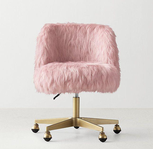 Alessa Dusty Rose Kashmir Faux Fur Desk Chair  Antiqued
