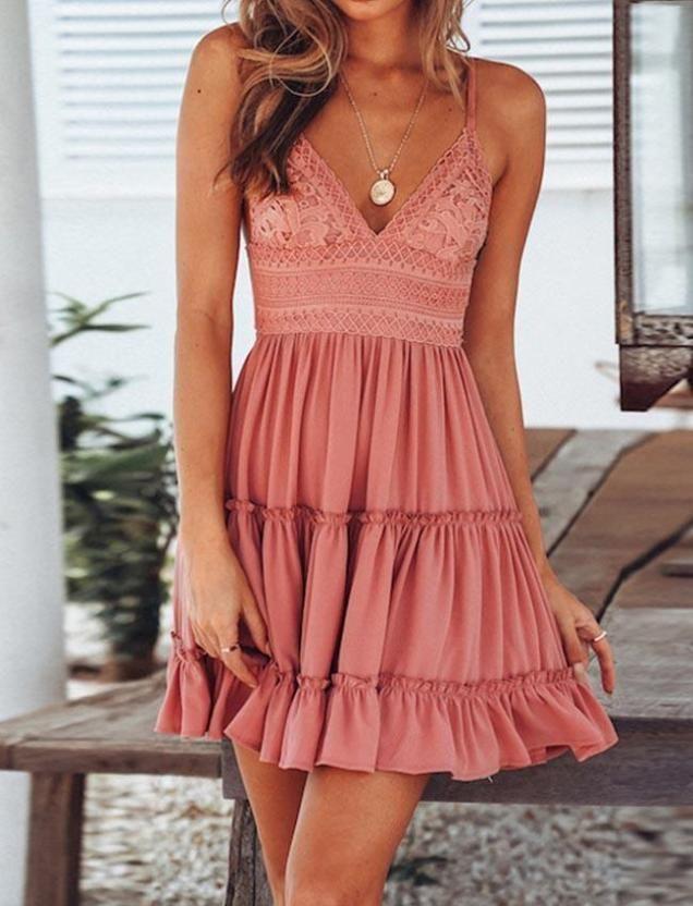 Photo of Cute Back Tie Solid Color Mini Braced Dress