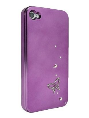 Purple Rhinestone Butterfly for iPhone4/4S