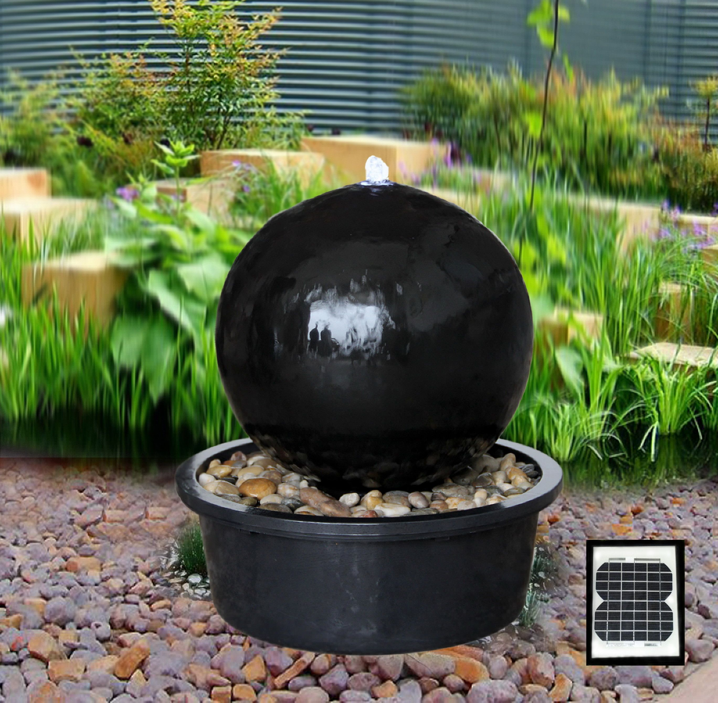 Solar Powered Black Ceramic Sphere Water Feature I Want This In