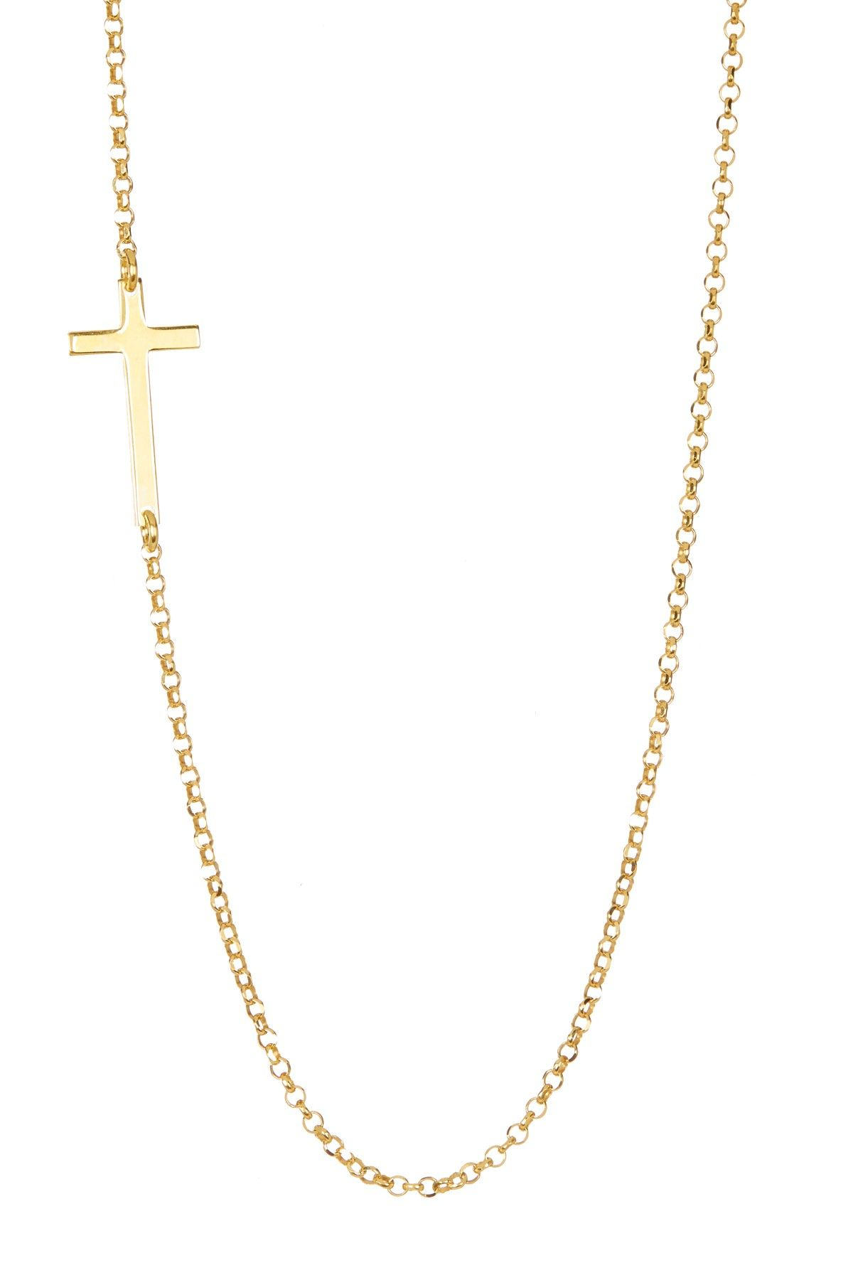 Yellow gold plated sterling silver sideways cross pendant necklace