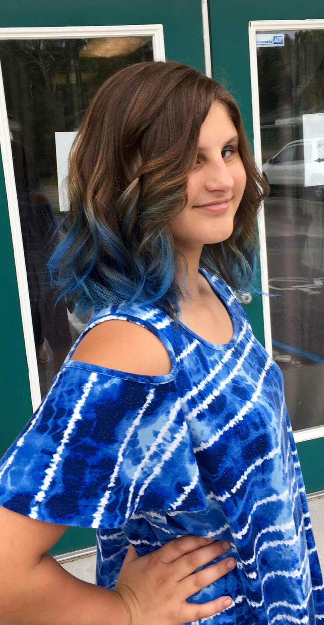 Blue Topaz Ombre On Medium Brown Hair Hair Dye Tips Blue Brown Hair Blue Ombre Hair