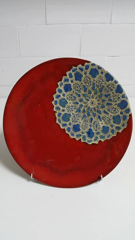 Red ceramic plate blue ornament handmade plateau by htceram & Red ceramic plate blue ornament handmade plateau by htceram | Yes ...