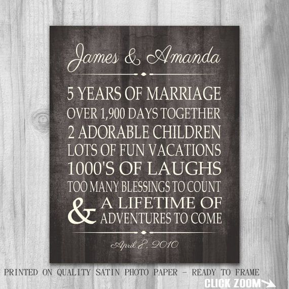 5th Year Wedding Anniversary Gift: 5 Years 5th Anniversary Gift Print Faux Rustic Wood 10, 15