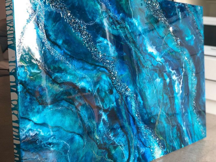 Custom order ocean inspired resin painting with sparkle on