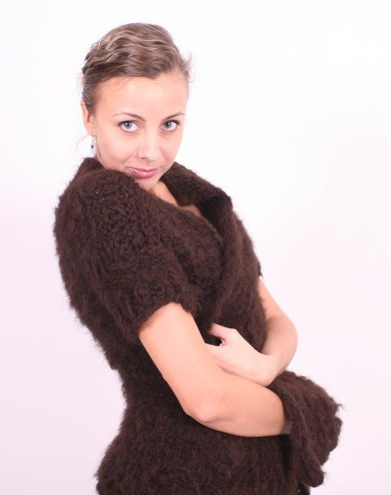 Brown hand knitted alpaca wool Cardigan