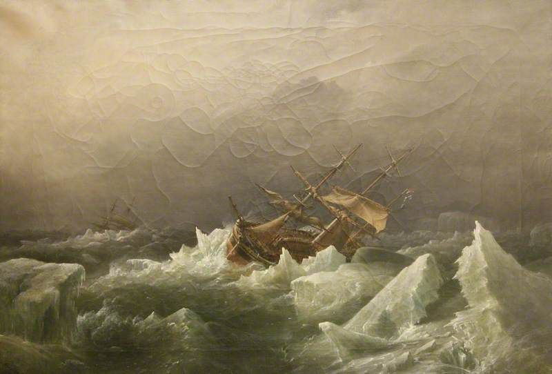 Antarctic Expedition: Gale in the Pack, 1842, painted 1863 by Richard Brydges Beechey (British 1808–1895)