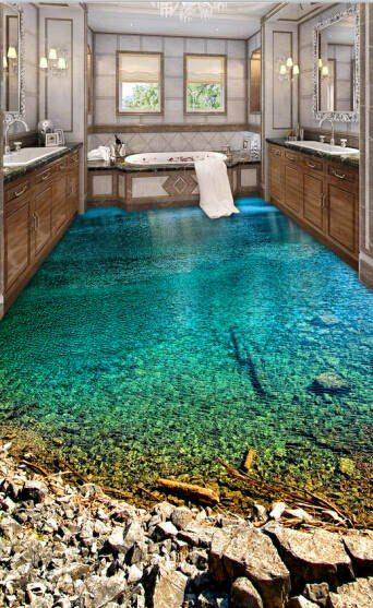 Online Shop Decorative self adhesive 3d floor painting wallpaper waterproof non-slip PVC sticker green lake | Aliexpress Mobile
