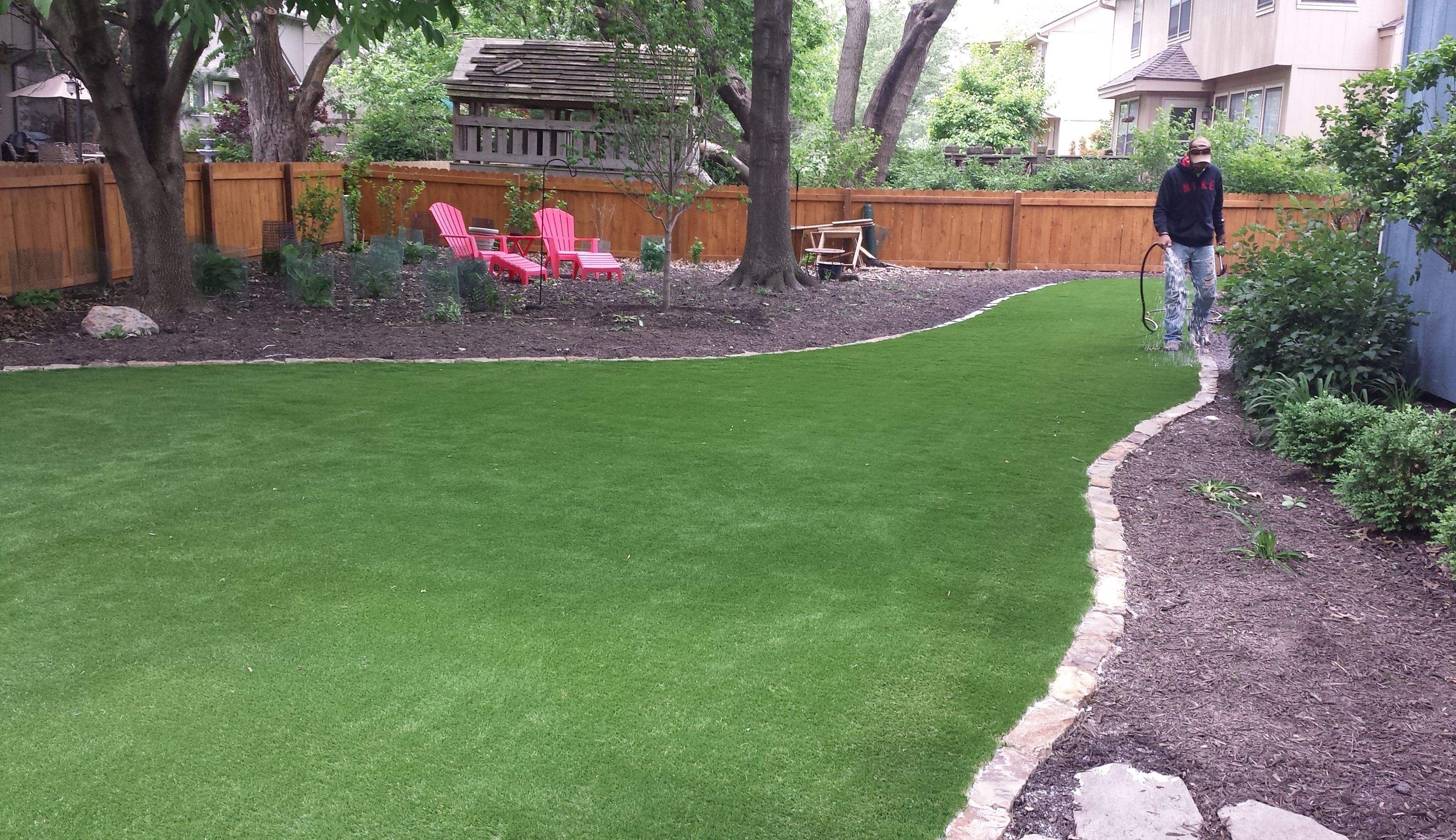 Tired of mowing, battling weeds and lawn issues? How about replacing your grass with astro turf? This is the same product used on NFL fields! No fuss, easy to maintain and pet friendly!