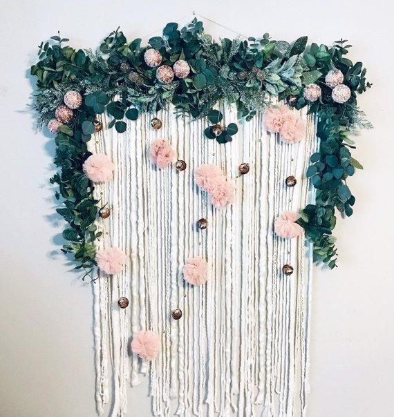 Boho wall hanging Flower wall hanging Macrame wall hanging Floral room decor Hanging baby mobile Hippie room decor