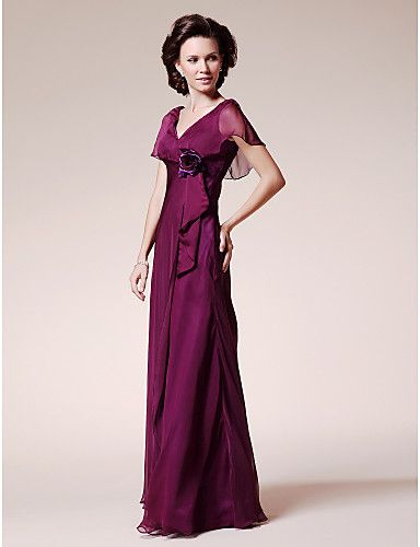 A-line V-neck Short Sleeve Floor-length Chiffon Mother of the Bride Dress – USD $ 99.99