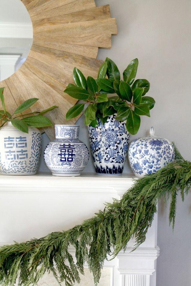 Emily A Clark Design Simplified Blue Decor Christmas Home Christmas Living Rooms