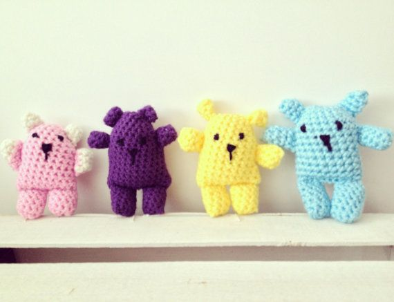 Amigurumi bears on Etsy from Drink Tea and Sew http://www.drinkteaandsew.com Available in blue, pink, yellow, purple and more. Other cute crocheted and sewn products including children and baby clothes
