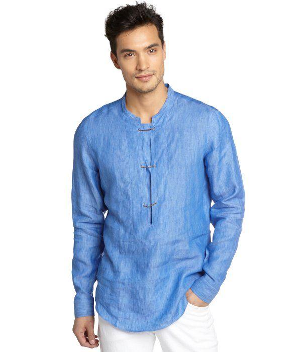 Gucci blue linen toggle close long sleeve shirt