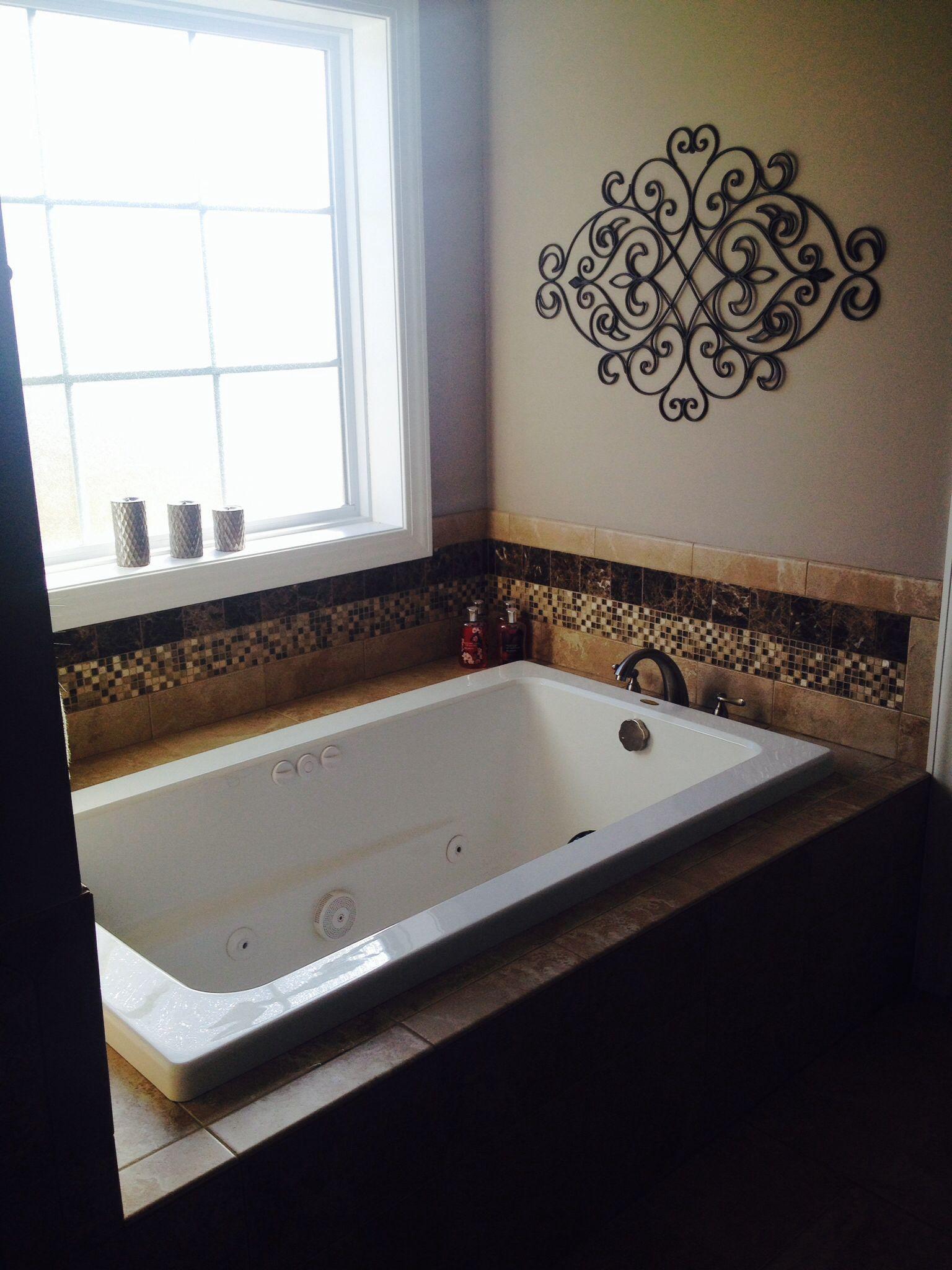 Master Bath Tub Mosaic Backsplash Metal Wall Decor