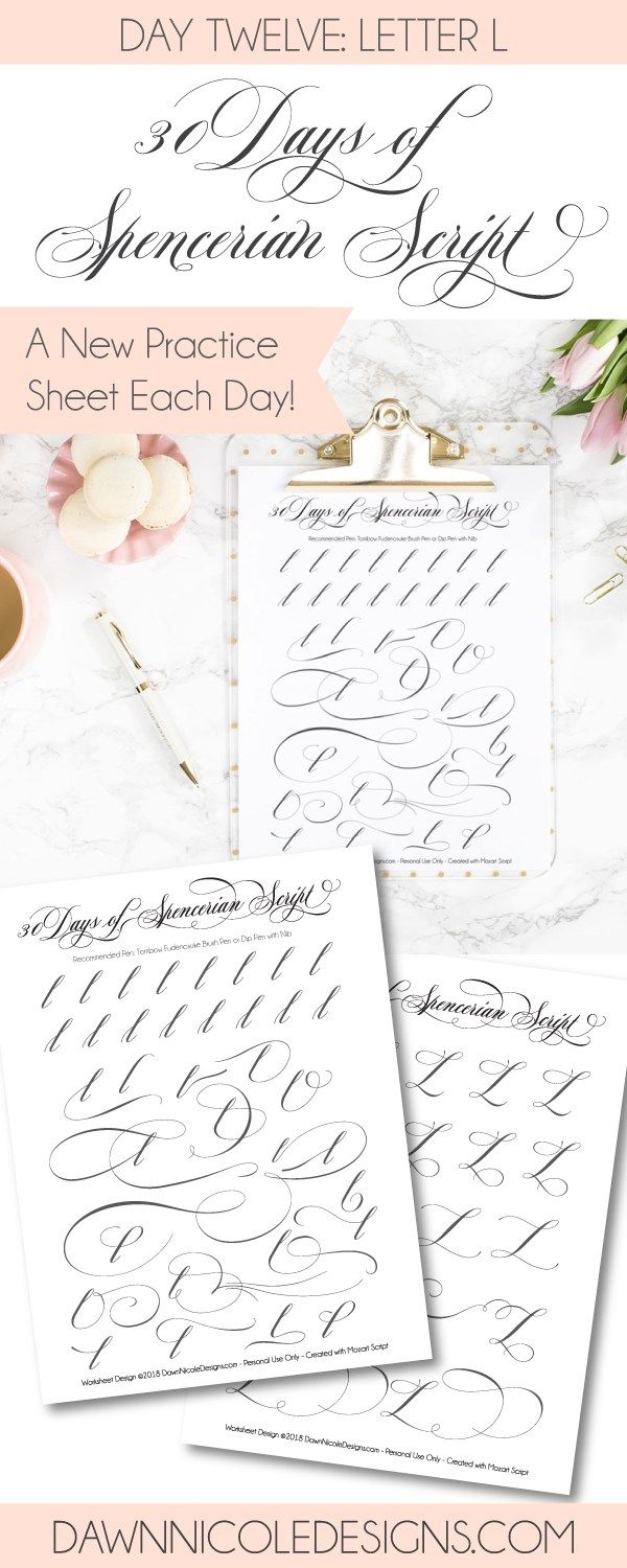 Worksheets Spencerian Penmanship Worksheets spencerian script letter l worksheets dawn nicole style this post is part of the 30 days