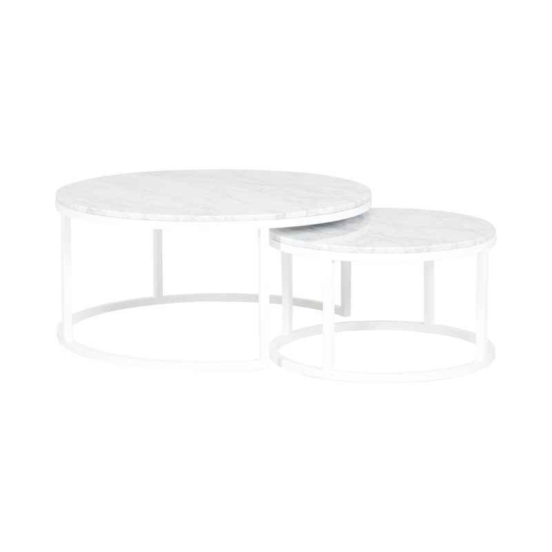 Designer Round Nesting Marble Coffee Tables - White Steel Base
