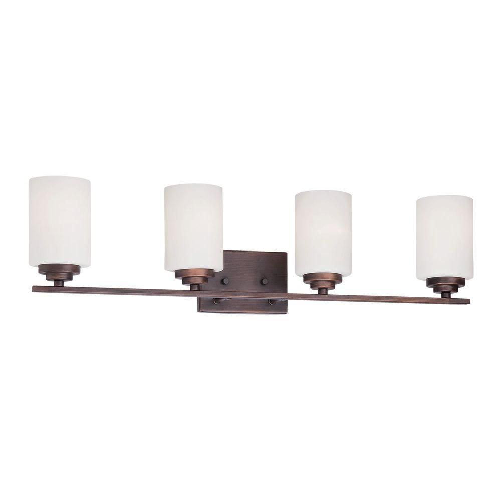 Photo of Millennium Lighting 4-Light Rubbed Bronze Vanity Light with Etched White Glass 3184-RBZ – The Home Depot