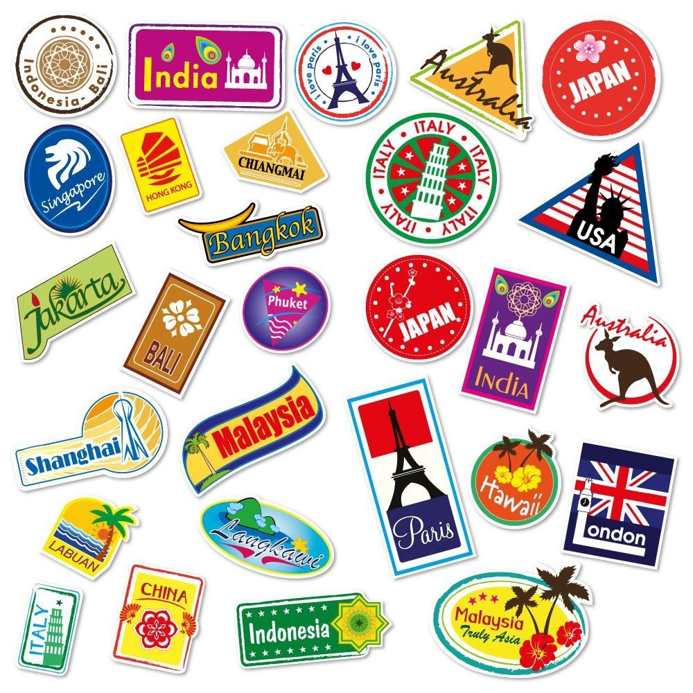 48879cf6576d World Travel Locations Suitcase Stickers - Set of 28 Luggage Decal ...