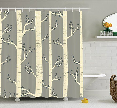 Grey Shower Curtain by Ambesonne Birch Tree Branches Vintage ...