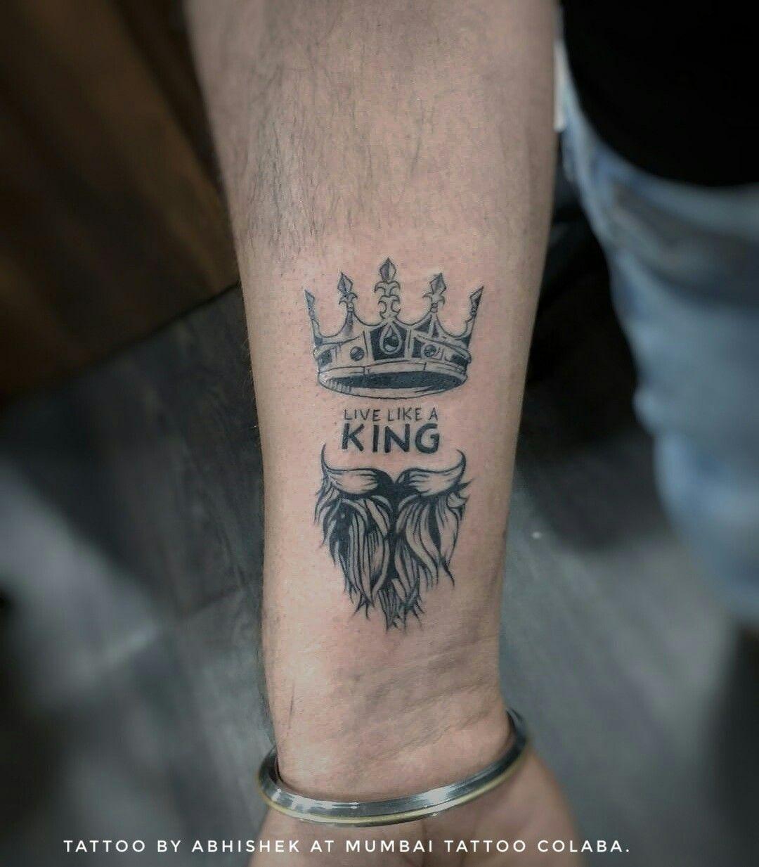 Live Like A King Crown With Beard Tattoo Tattoo By Abhishek Jaiswar Globaltattooindia Tattoo Ink Bea Neck Tattoo For Guys King Tattoos Neck Tattoo