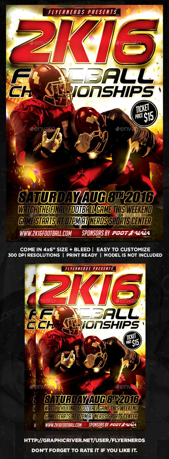 2k16 football championships sports flyer flyer template and event