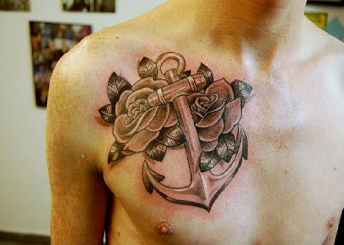Big Anchor With Roses Tattoo On Chest Anchor Tattoo Ideas 24 Rose Tattoos Anchor Tattoos Tattoos
