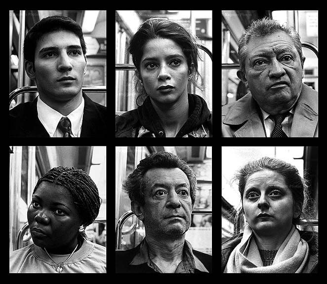 """Luc Delahaye  Six pictures from """"L'Autre"""" series     shot with a hidden camera, paris metro. 1995-7"""