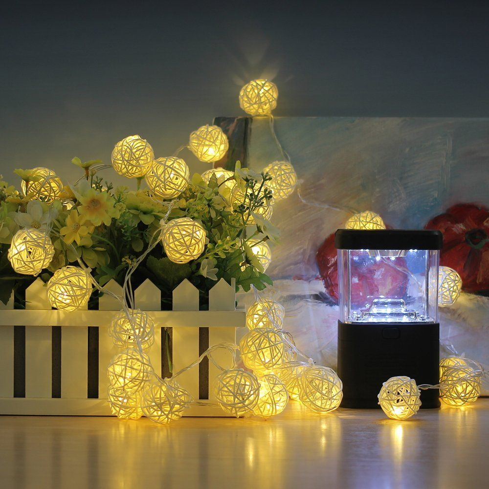 Innoolight rattan ball string lights leds christmas indoor for tree garden patio also rh pinterest