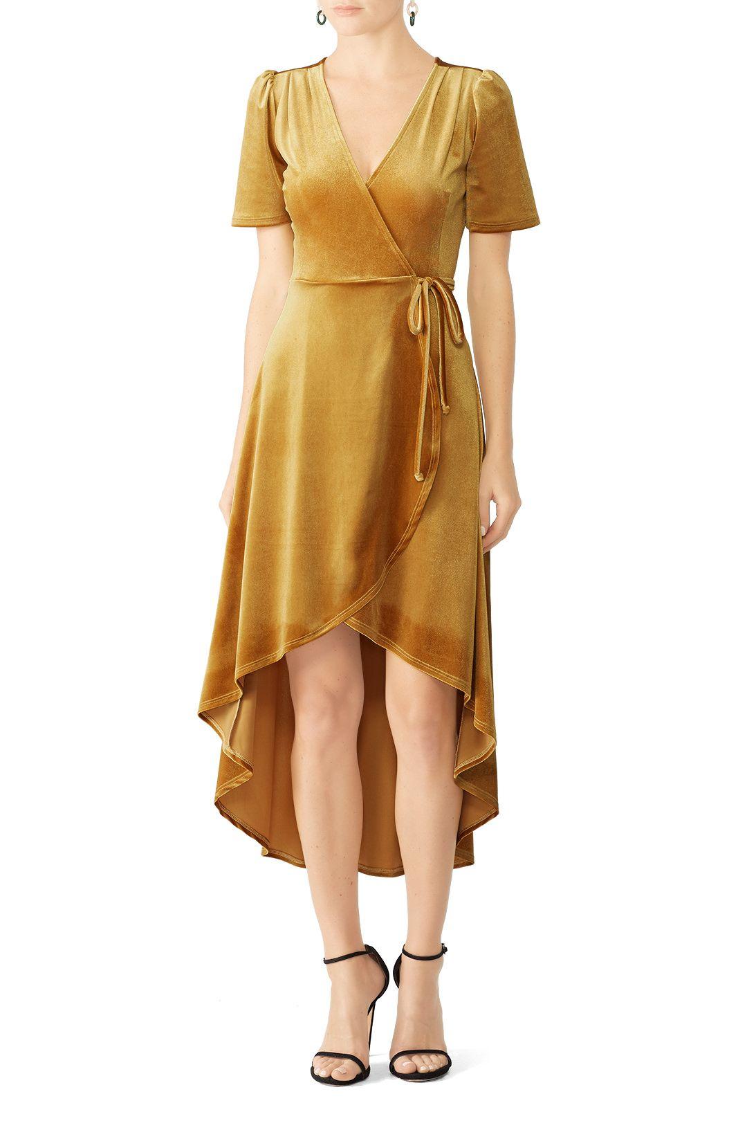 604f409741 Mustard Velvet Wrap Dress by Slate   Willow for  30 -  40