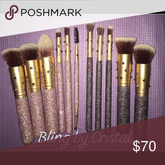 Bling glitter makeup brush set NWT Glitter makeup