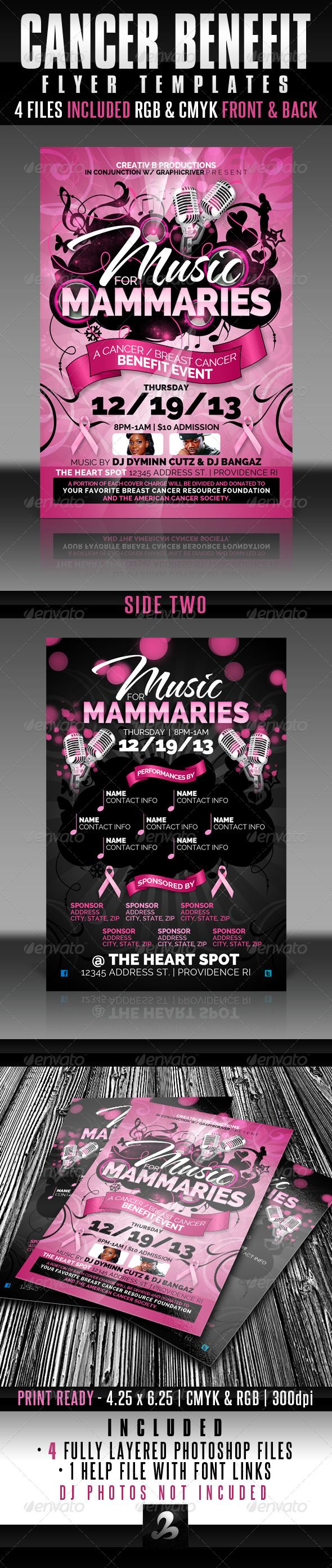 cancer benefit flyer templates fundraisers design elements and cancer benefit flyer templates graphicriver use this flyer and or invitation template for any