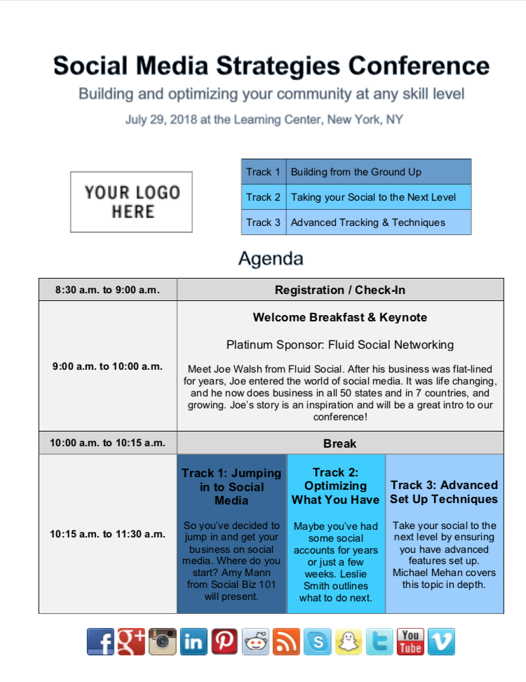 Using an agenda to plan a meeting can help the gathering run smoothly and effectively address key issues or topics. Organize Your Next Event With This Event Agenda Sample And A Few Helpful Tips From Strategic E Event Agenda Corporate Event Planning Social Media Conference