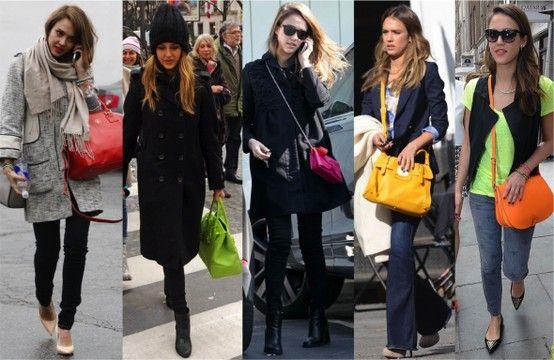 Apostar em uma bolsa colorida é uma ótima alternativa para dar cor ao look de frio.