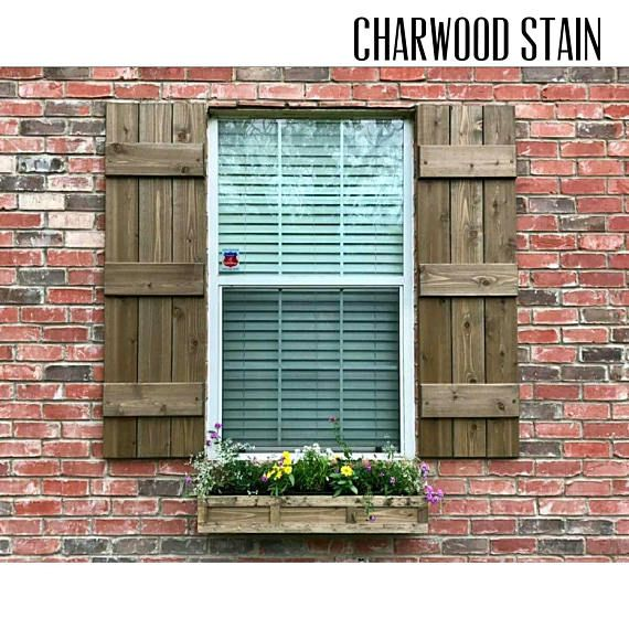 Wood Shutters Board And Batten Cedar Exterior Stained Brick House