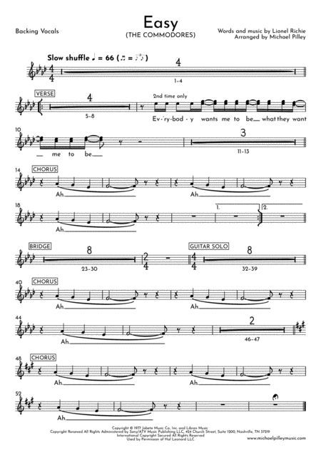 Easy The Commodores Pop Combo Digital Sheet Music Guitar Sheet Music Commodores