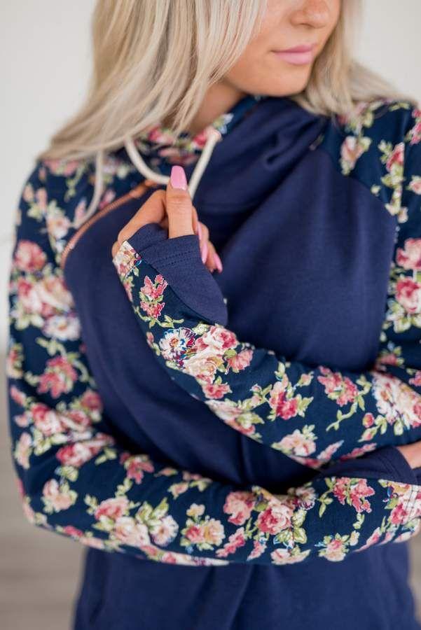 5f60f8814264 Ampersand Avenue Baseball DoubleHood Sweatshirt - Navy Floral in ...