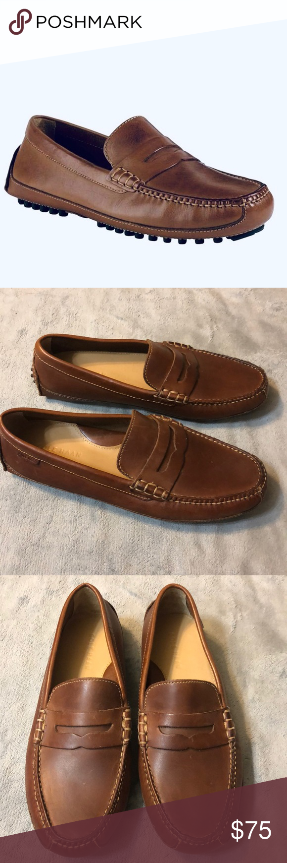 Wide Cole Haan Mens Grant Canoe Brown Loafers Size 6.5