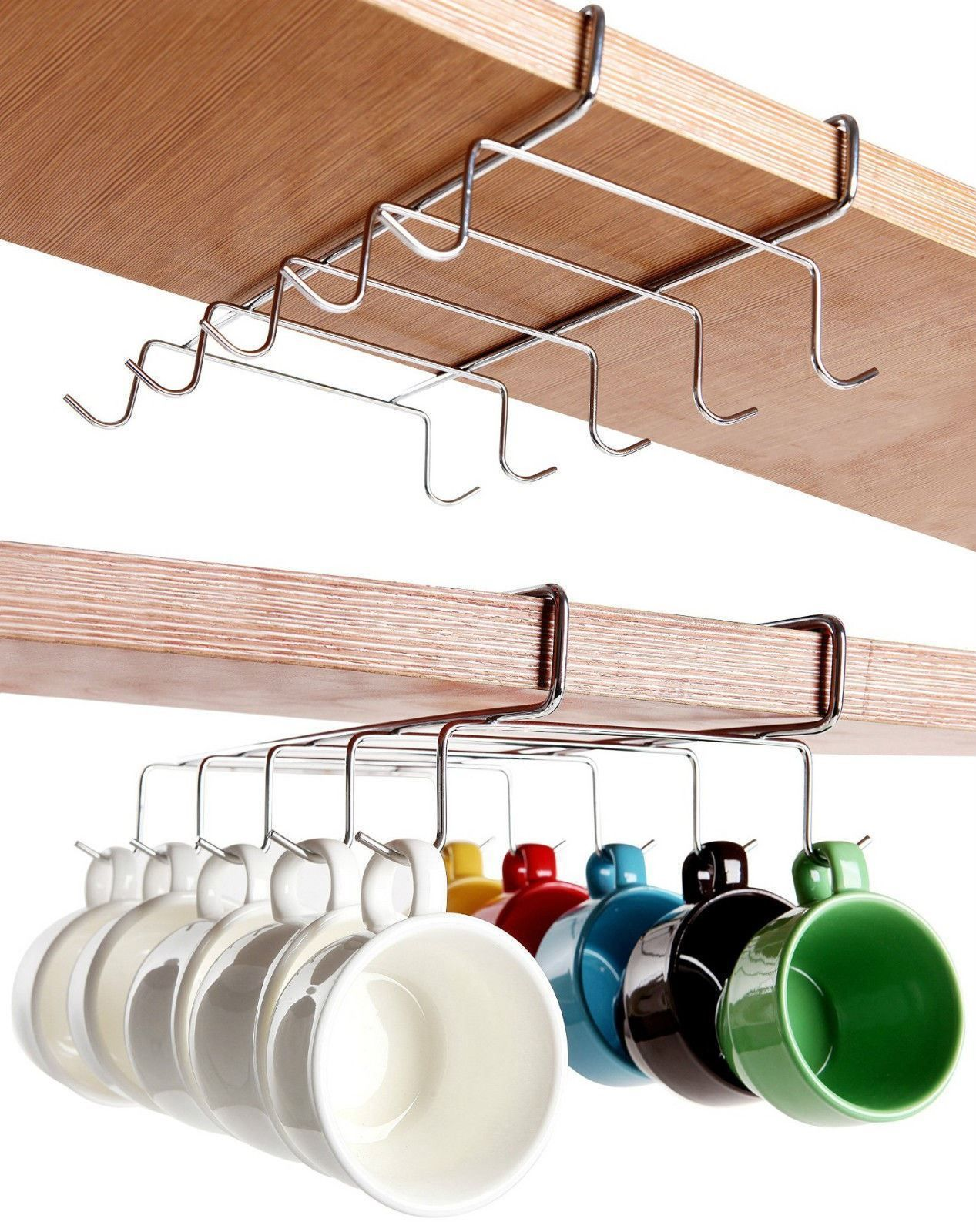 8 08 Gbp Chrome Under Shelf Cabinet Mug Tea Cup Holder Storage Hook Organizer 10 Hook Ebay Home Under Shelf Storage Kitchen Cupboard Storage Mug Storage