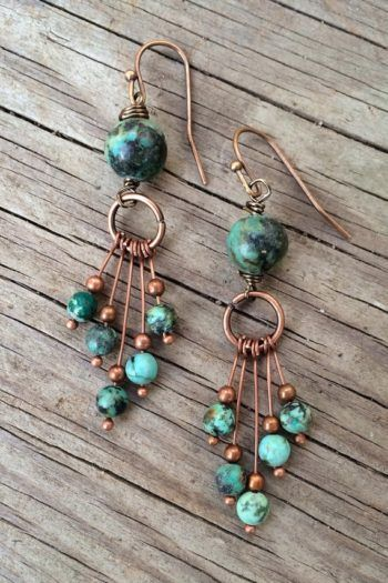 For Sale: Turquoise Earrings Turquoise Jewelry Hoop Earrings...